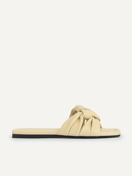 Knotted Straps Slip-On Sandals, Beige, hi-res