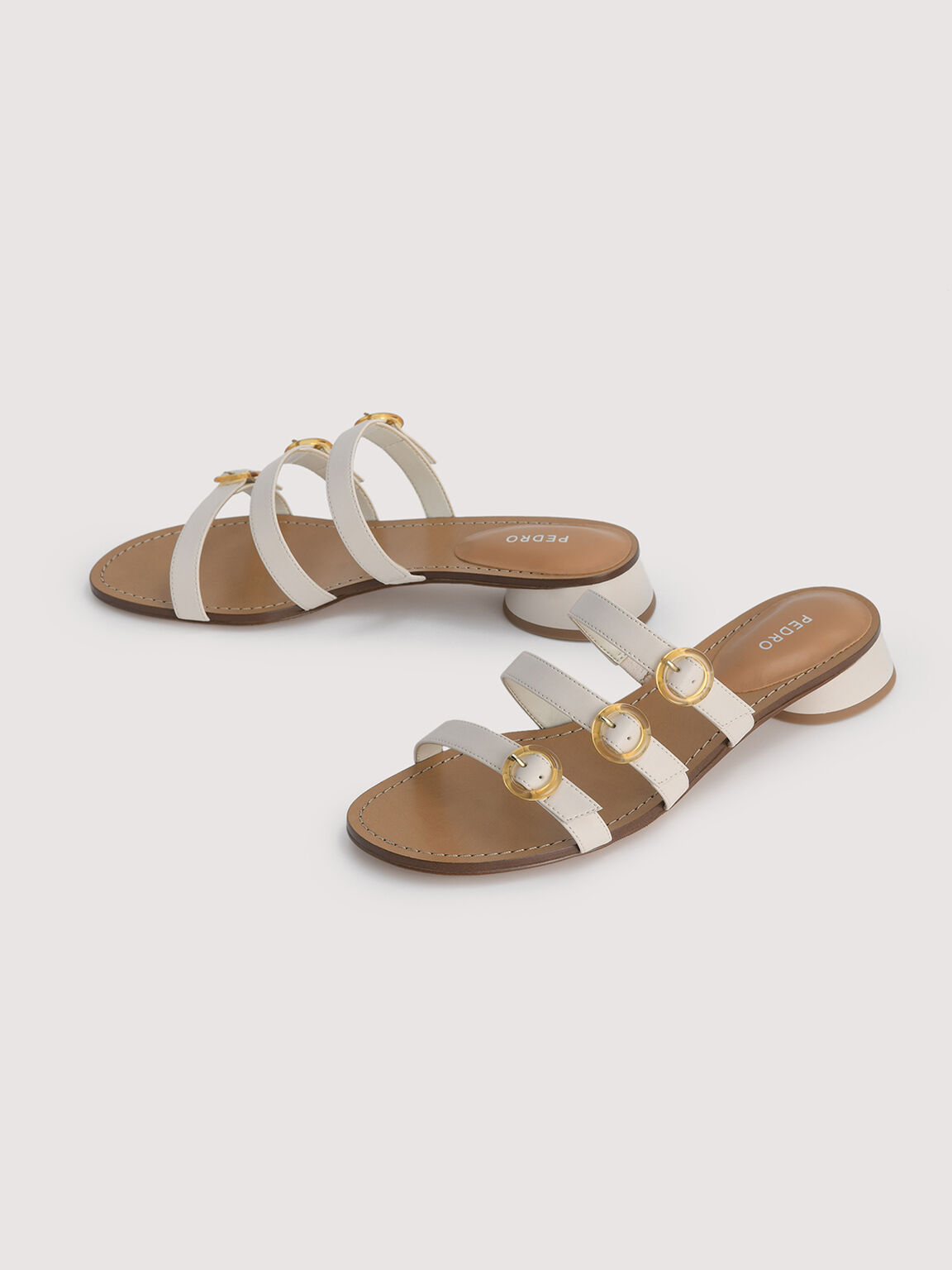 Buckled Strapped Sandals, Chalk, hi-res