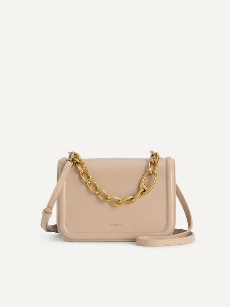 Chain-Strap Shoulder Bag, Taupe, hi-res