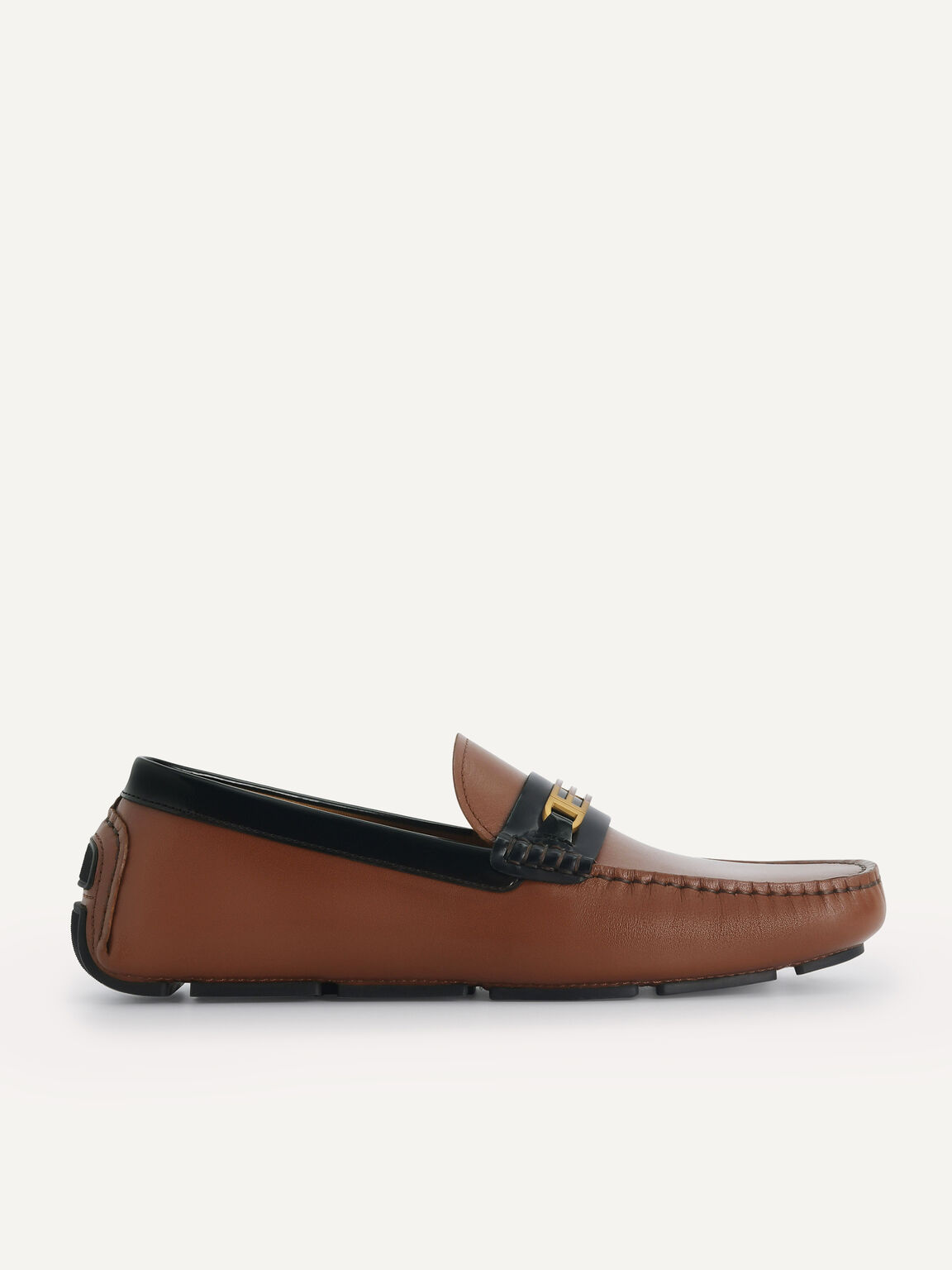 Leather Moccasins with Gold Bit, Brown, hi-res