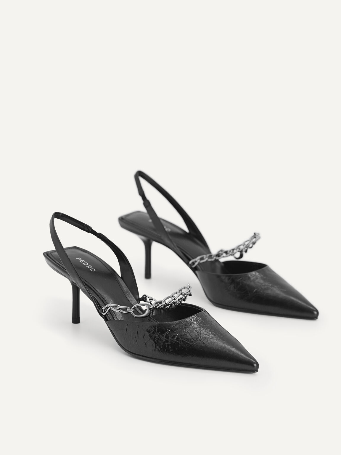 Chain-Strap Leather Slingback Pumps, Black, hi-res