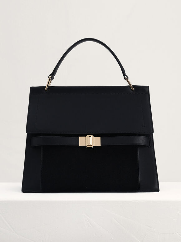Leather Top Handle Bag, Black, hi-res