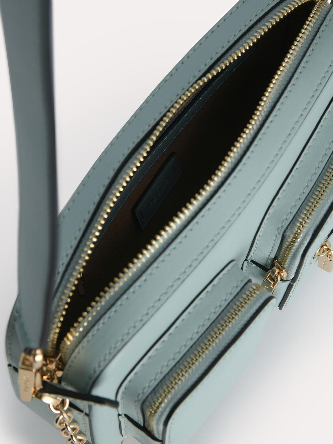 Leather Boxy Bag, Slate Blue, hi-res