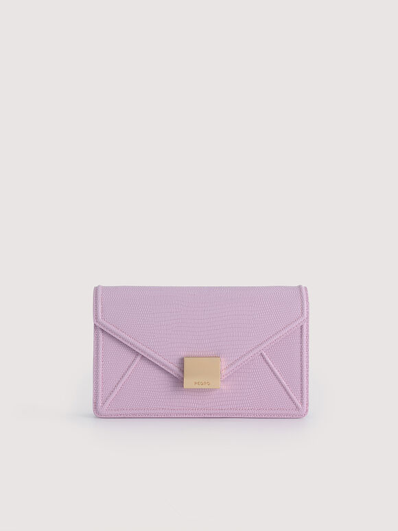 Lizard-Effect Leather Envelope Travel Organizer, Lilac, hi-res