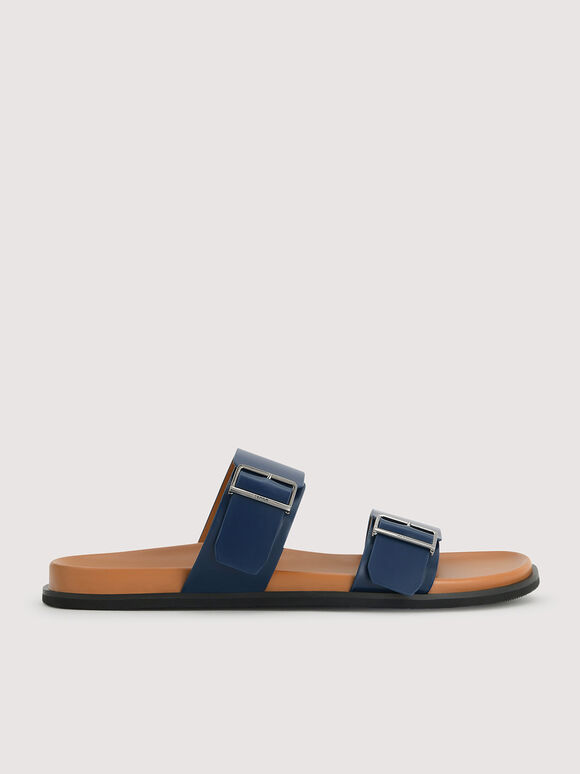 Double Band Sliders, Navy, hi-res