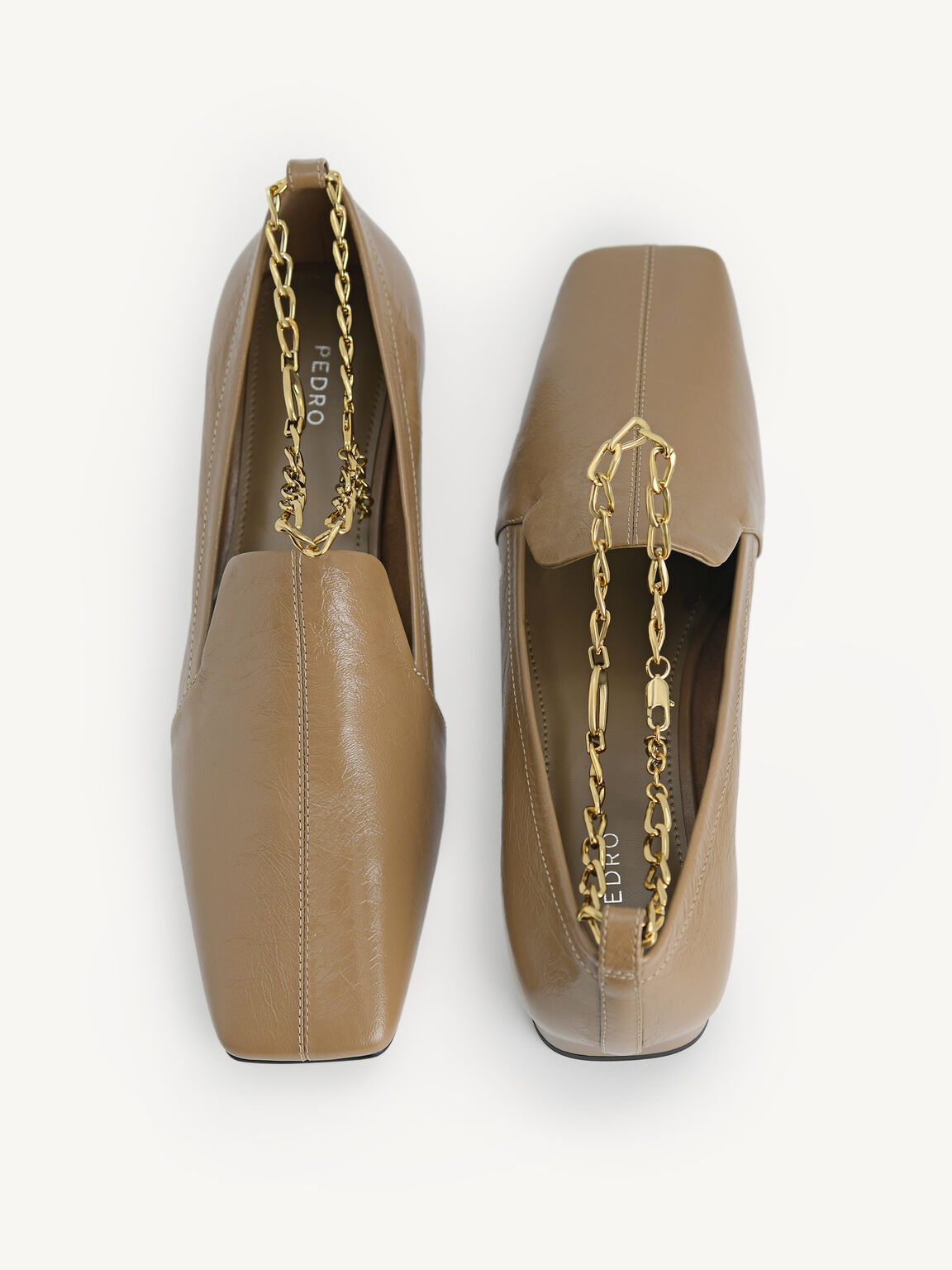 Chain-Strap Leather Loafers, Taupe, hi-res