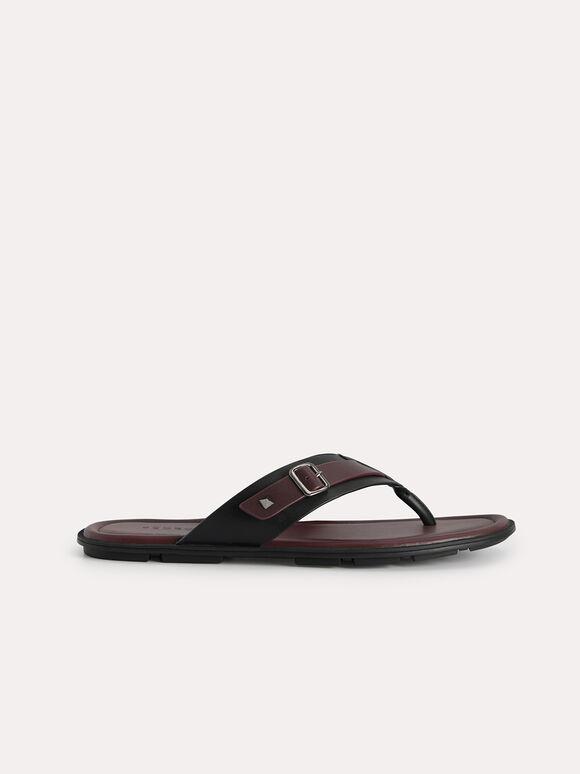 Buckled Thong Sandals, Mahogany, hi-res