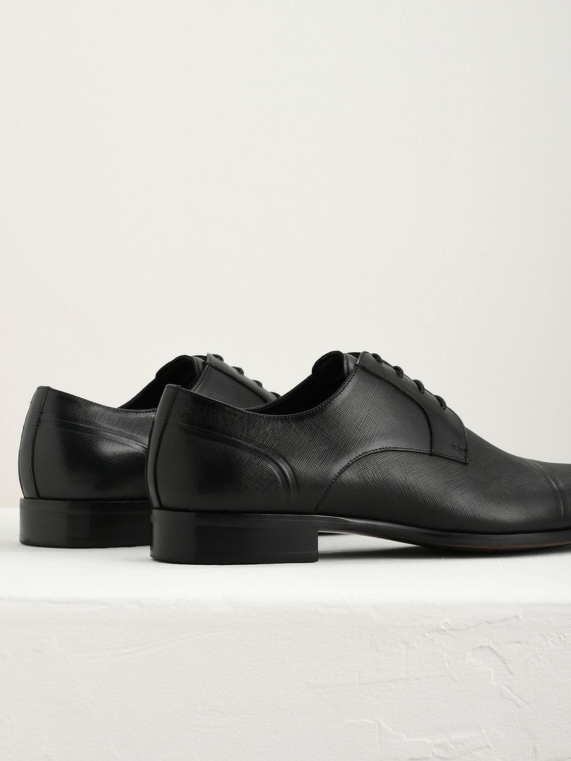 壓花皮革德比鞋, 黑色, hi-res