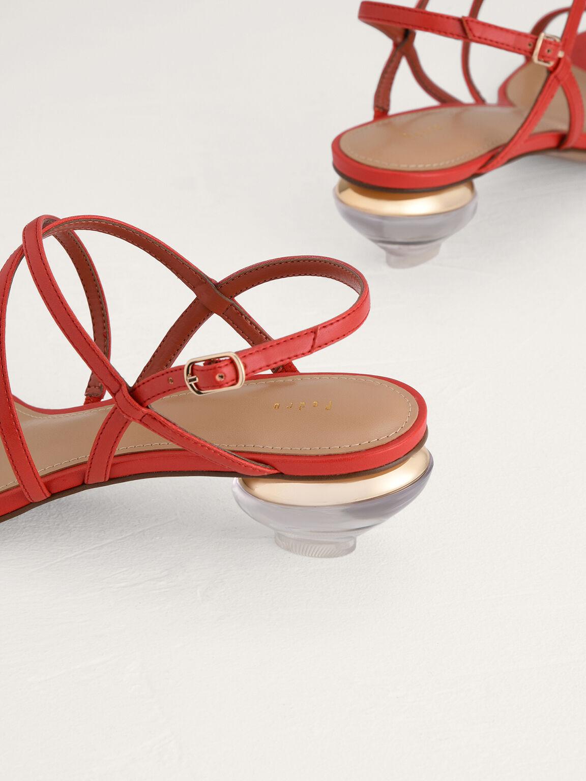 Strappy Heeled Slingback Sandals, Red, hi-res