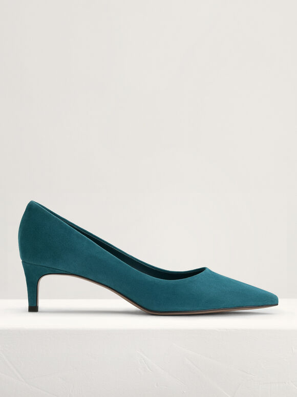Suede Leather Pointed Pumps, Teal, hi-res