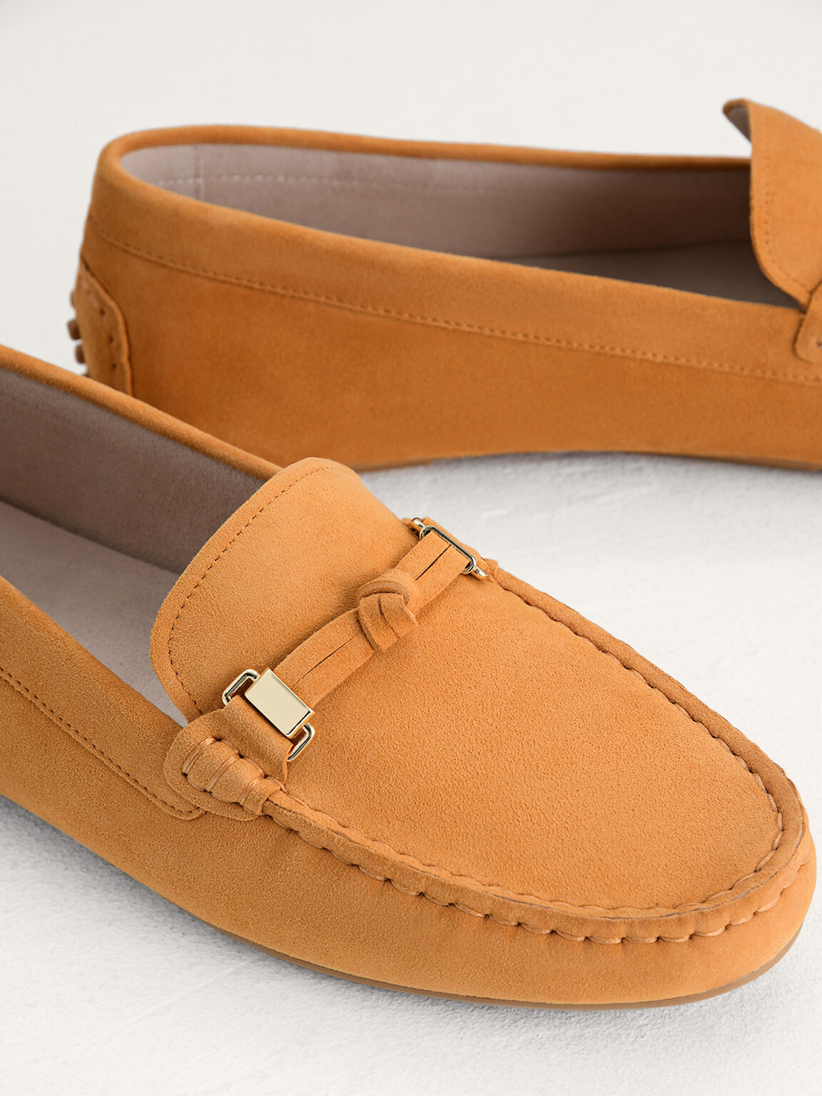 Knotted Suede Leather Moccasins, Mustard, hi-res