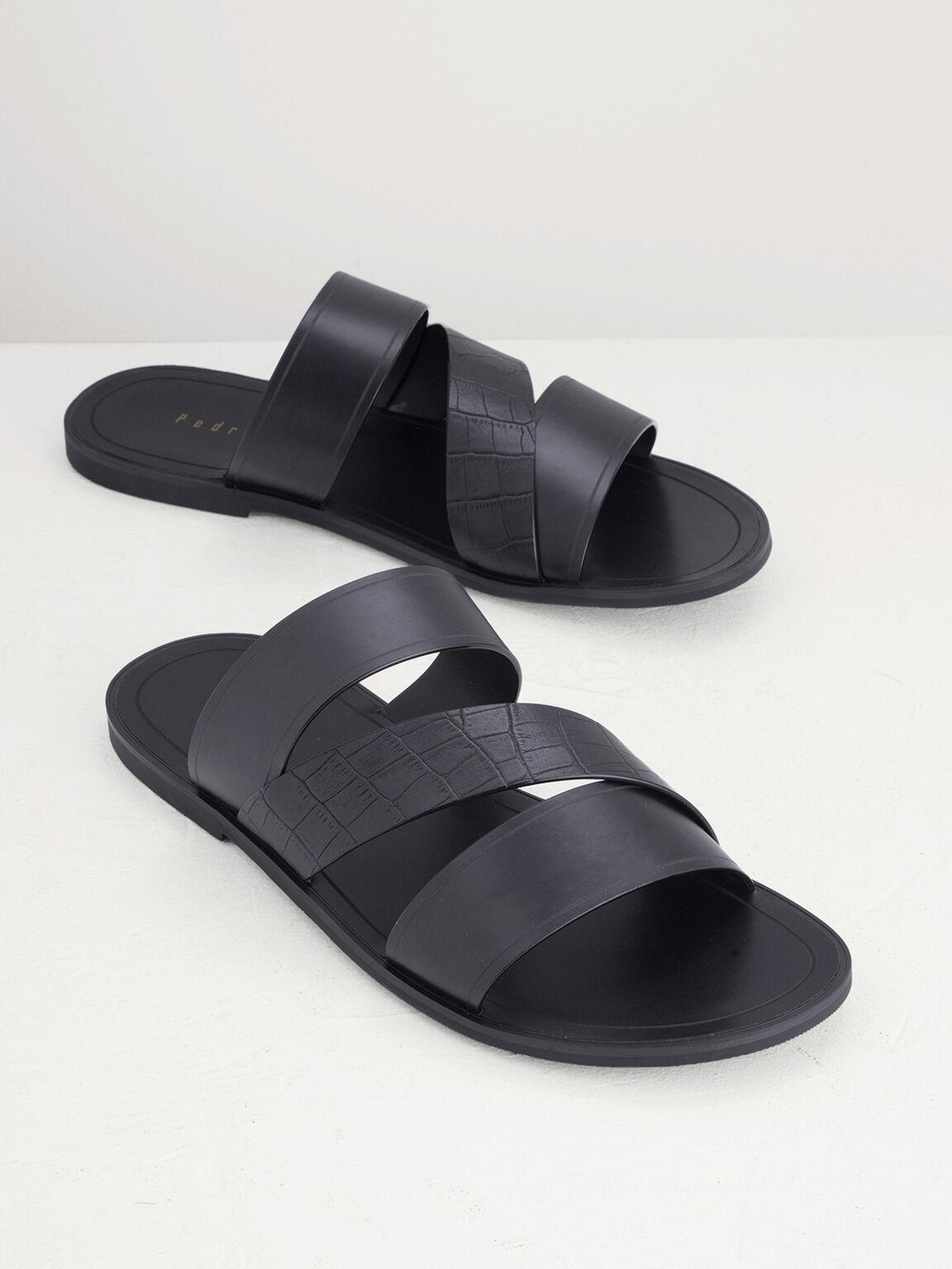 Croc-Effect Sandals, Black, hi-res