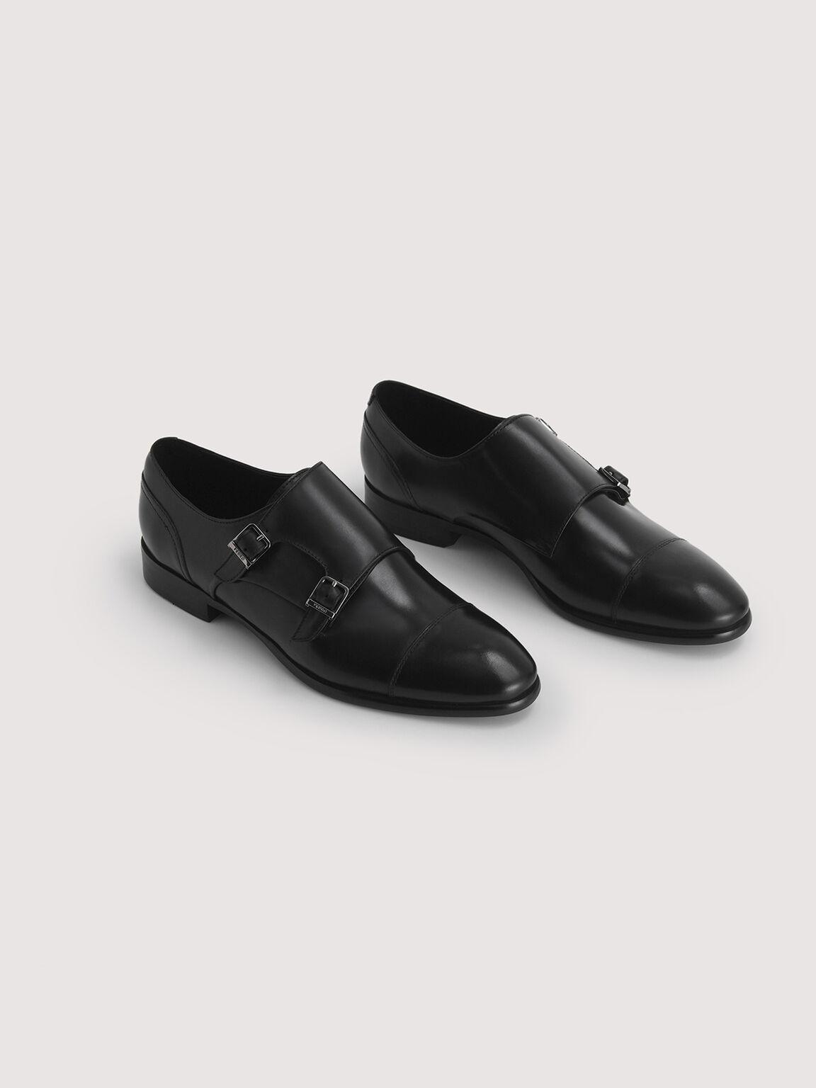 Leather Buckled Loafers, Black, hi-res