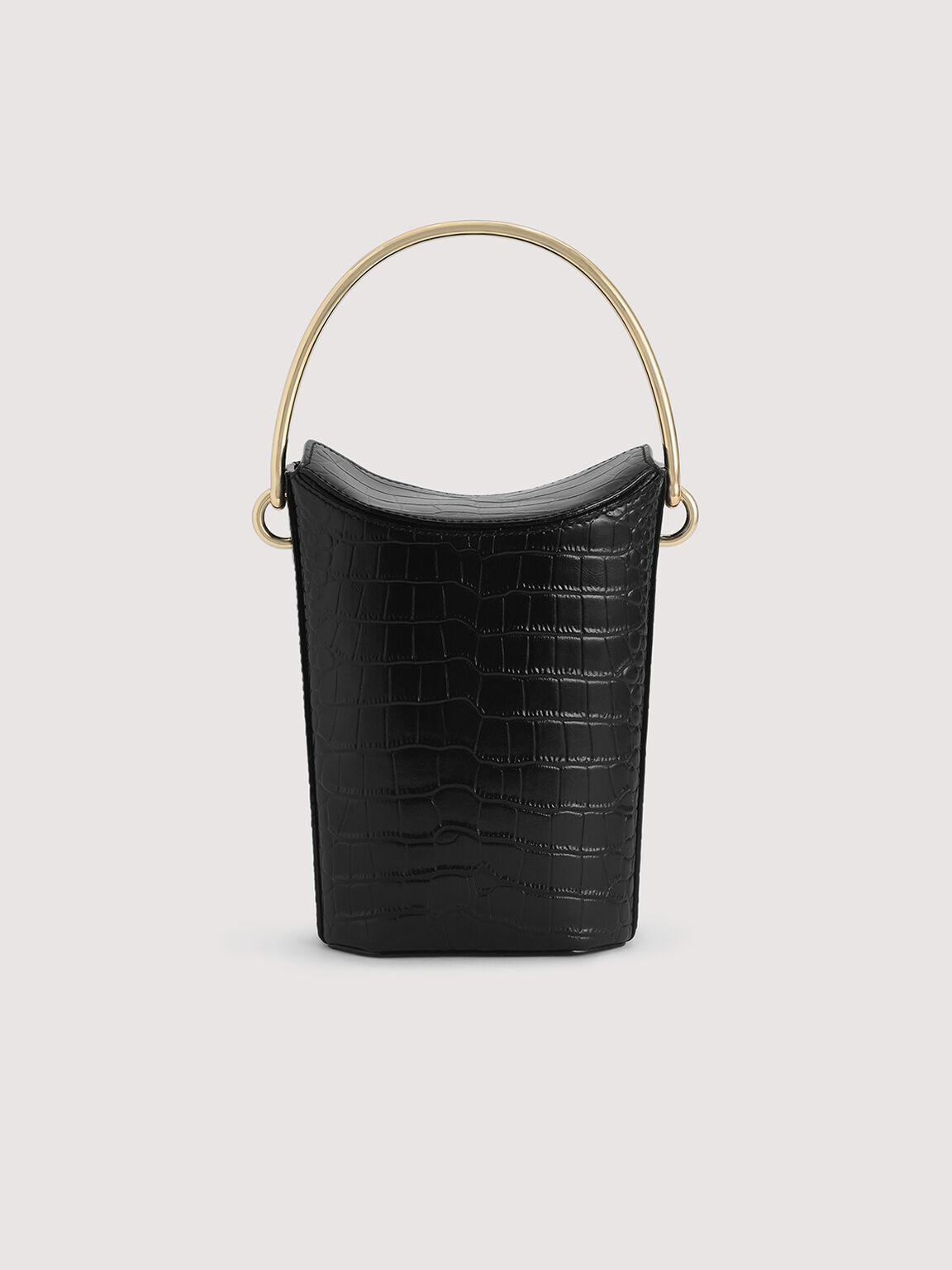 Embossed Leather Bucket Bag, Black, hi-res