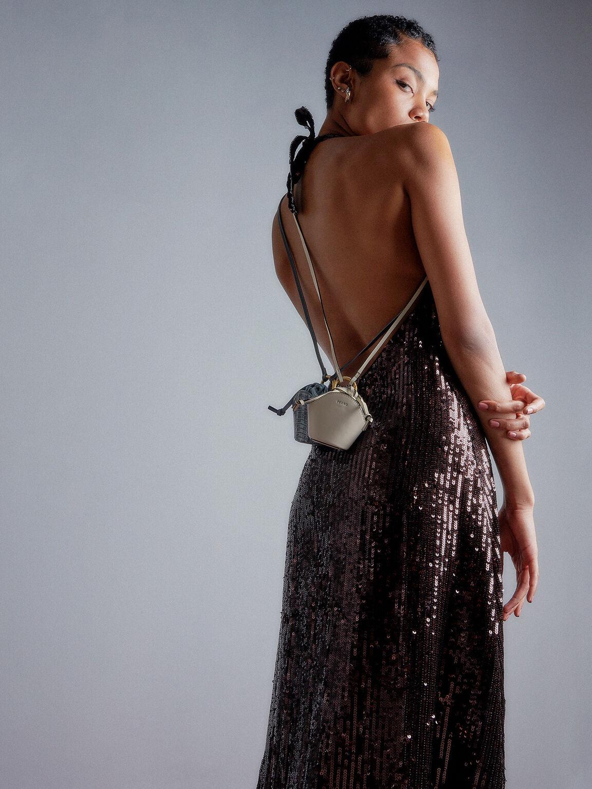 Leather Micro Shoulder Bag, Chalk, hi-res