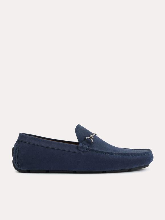 Suede Moccasins with Bit Detailing, Navy, hi-res