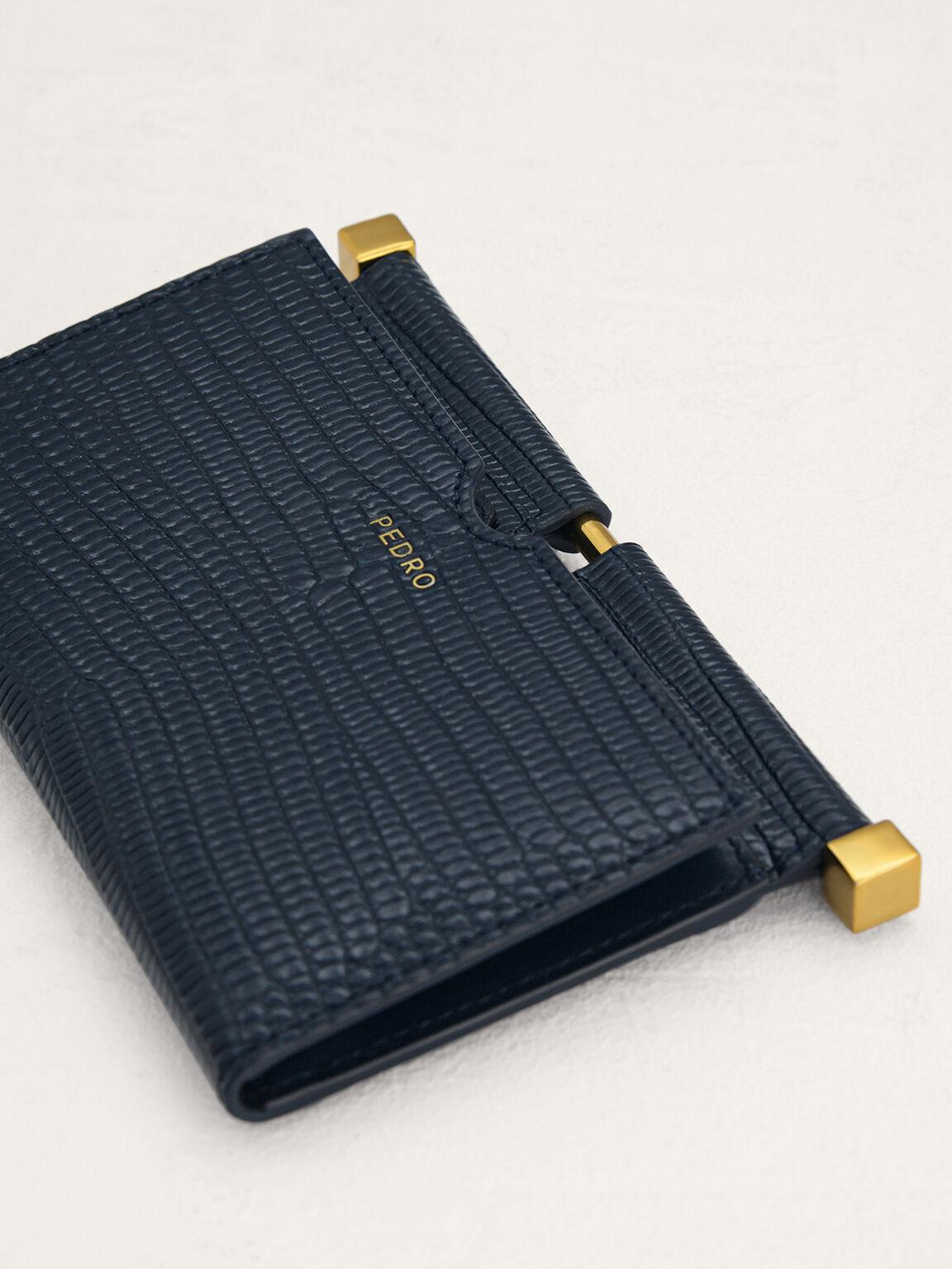Lizard-Effect Leather Card Holder, Navy, hi-res