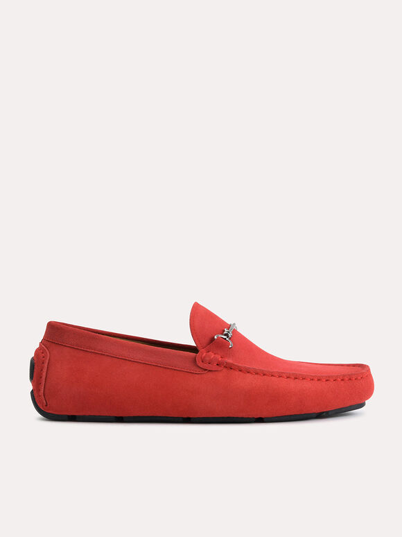 Suede Moccasins with Bit Detailing, Red, hi-res
