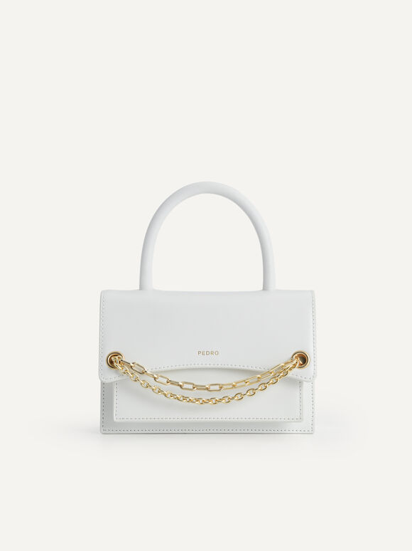 Boxy Leather Top Handle Bag, Chalk, hi-res