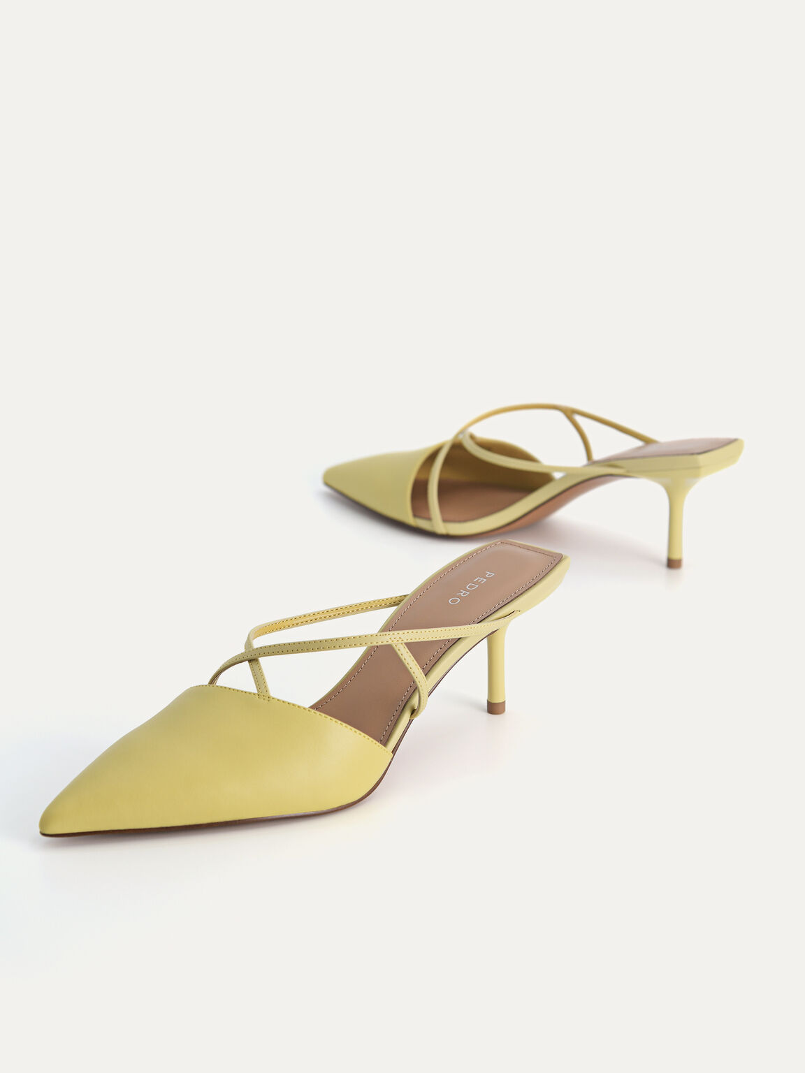 Pointed Toe Leather Heels, Light Green, hi-res
