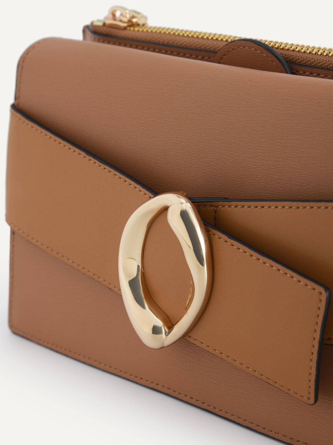 Textured Leather Shoulder Bag, Camel, hi-res