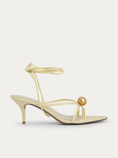 Orb Lace-Up Heeled Sandals, Light Yellow, hi-res