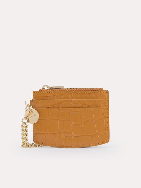 Textured Leather Cardholder, Camel, hi-res