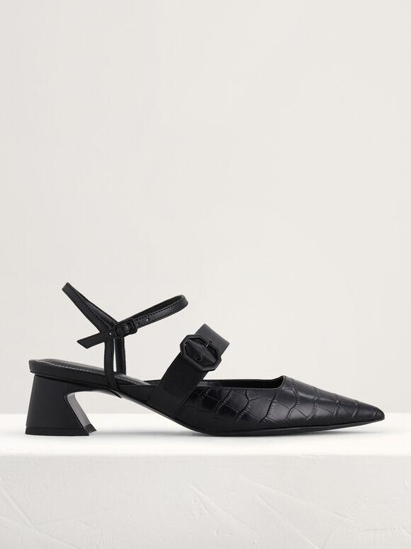 Croc-Effect Buckled Leather Heels, Black, hi-res