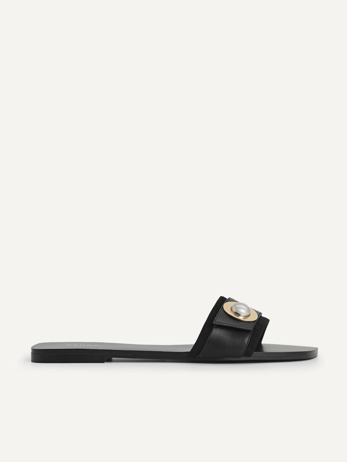 Metal-Embellished Sandals, Black, hi-res