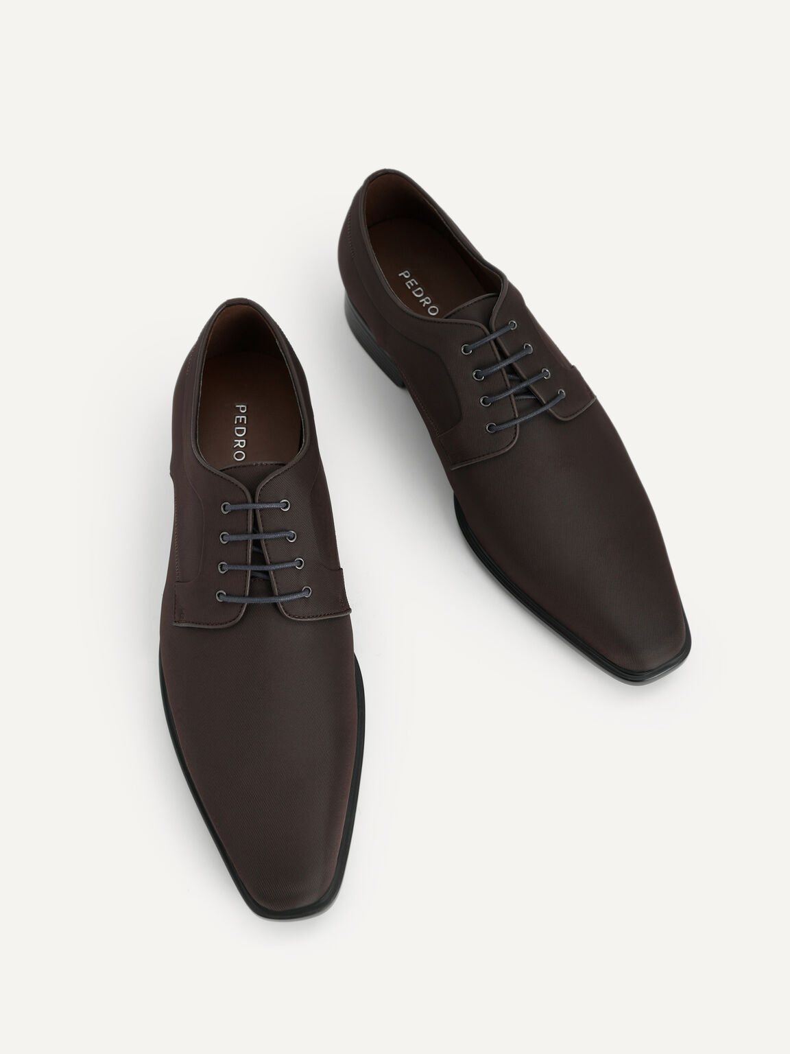 Pointed Square Toe Derby Shoes, Dark Brown, hi-res