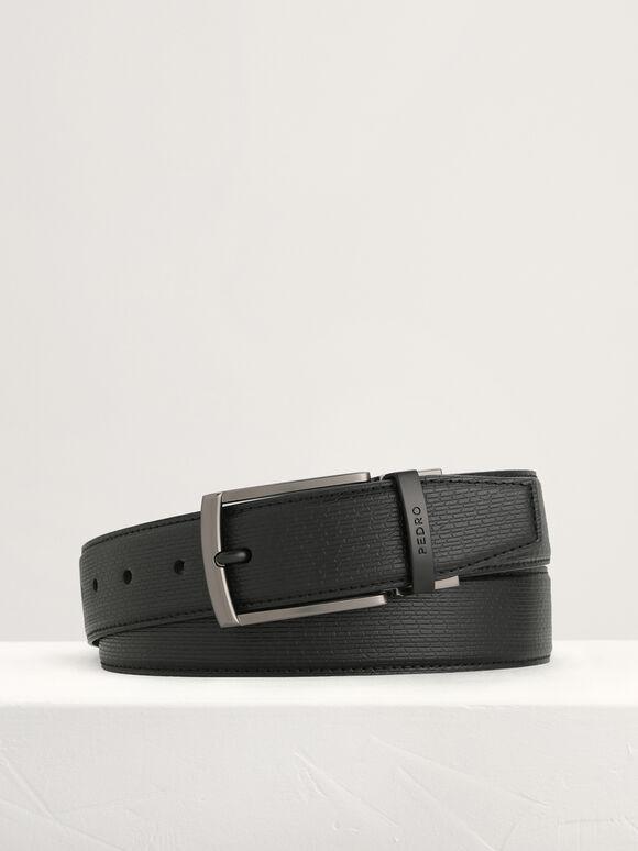Leather Reversible Pin Belt, Black, hi-res