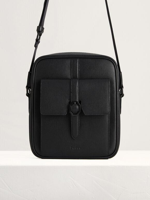 Buckled Leather Sling Bag, Black, hi-res