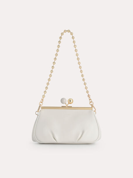 Shoulder Bag with Pearl Closure, Chalk, hi-res
