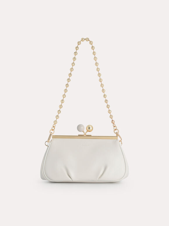 Shoulder Bag with Pearl Closure, Chalk, hi-res
