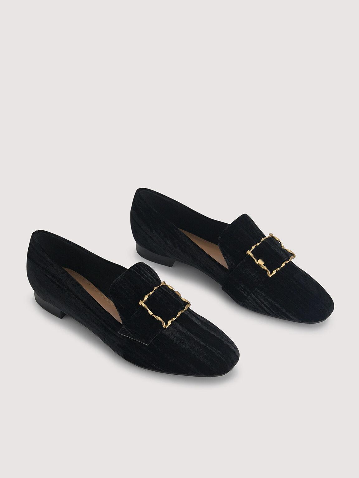 Velvet Buckled Loafers, Black, hi-res