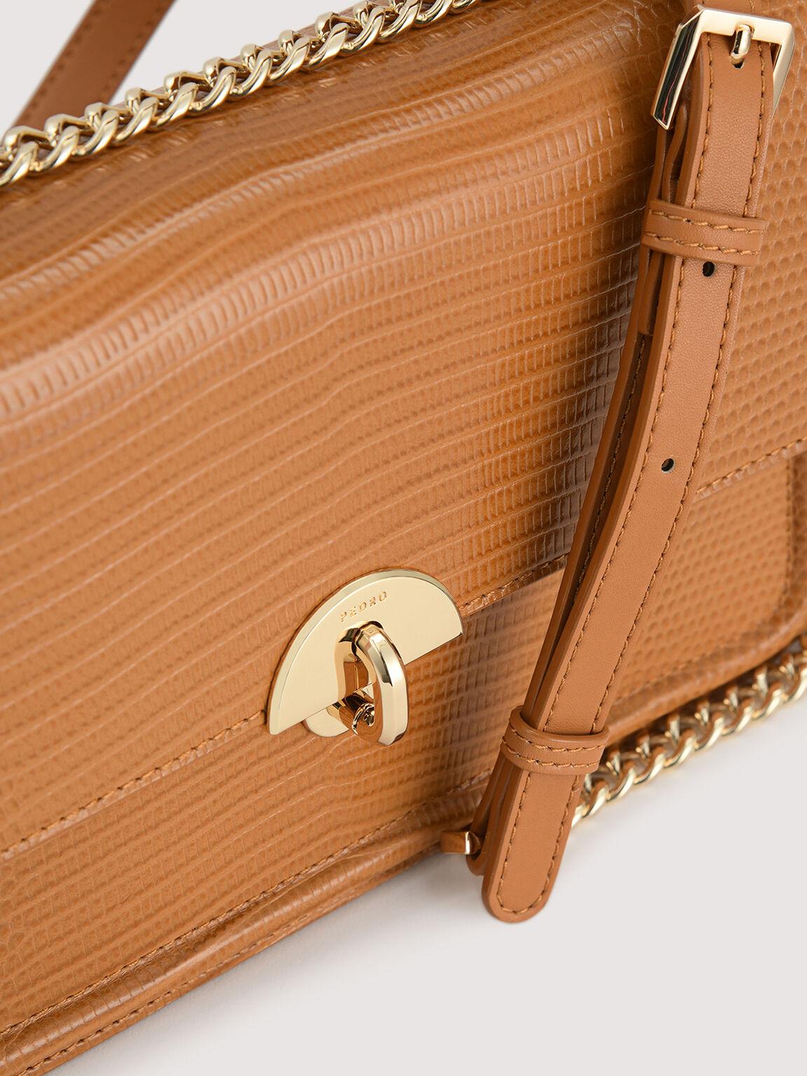 Embossed Leather Shoulder Bag, Mustard, hi-res