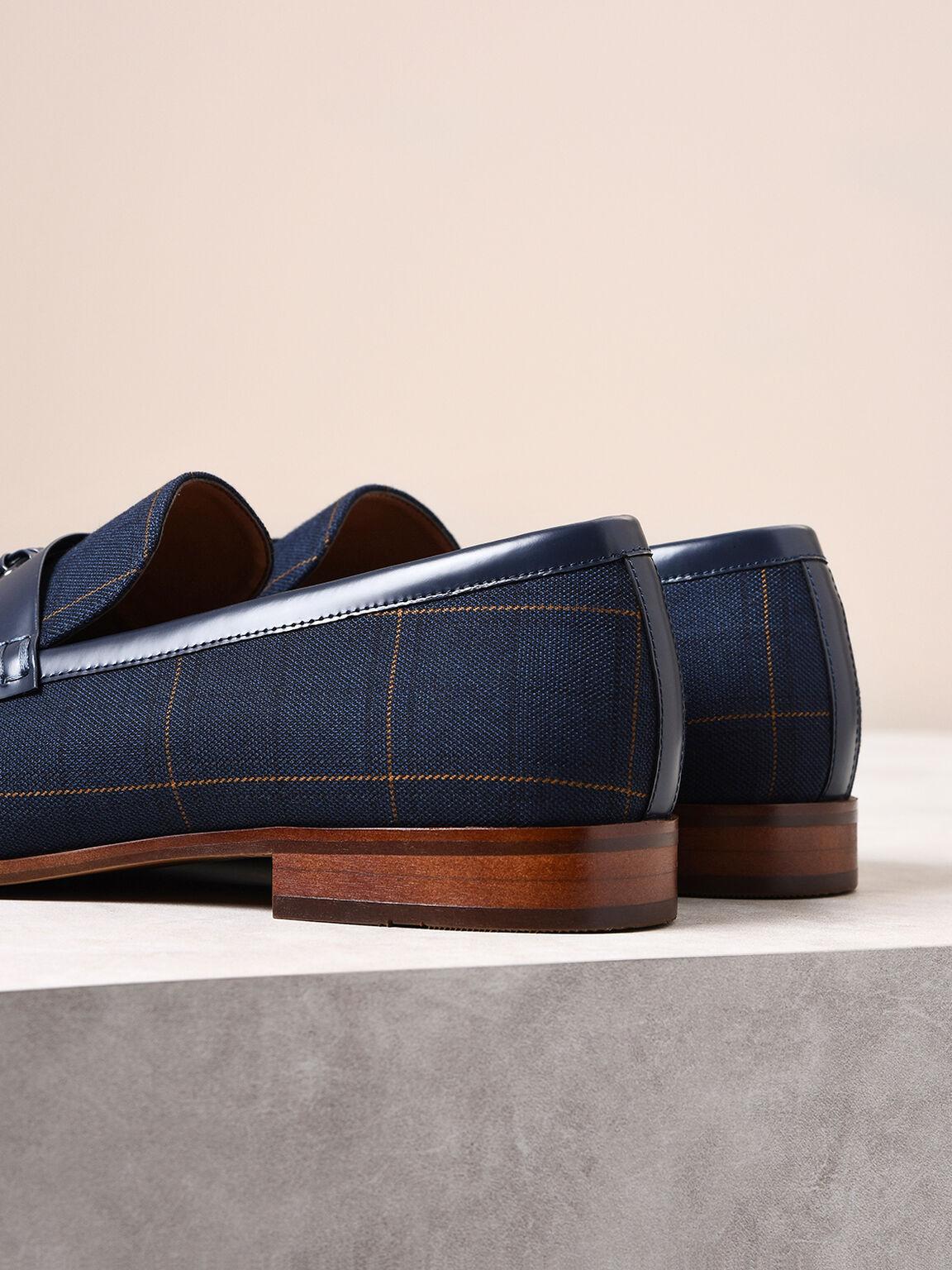 Leather Tassel Loafers, Navy, hi-res