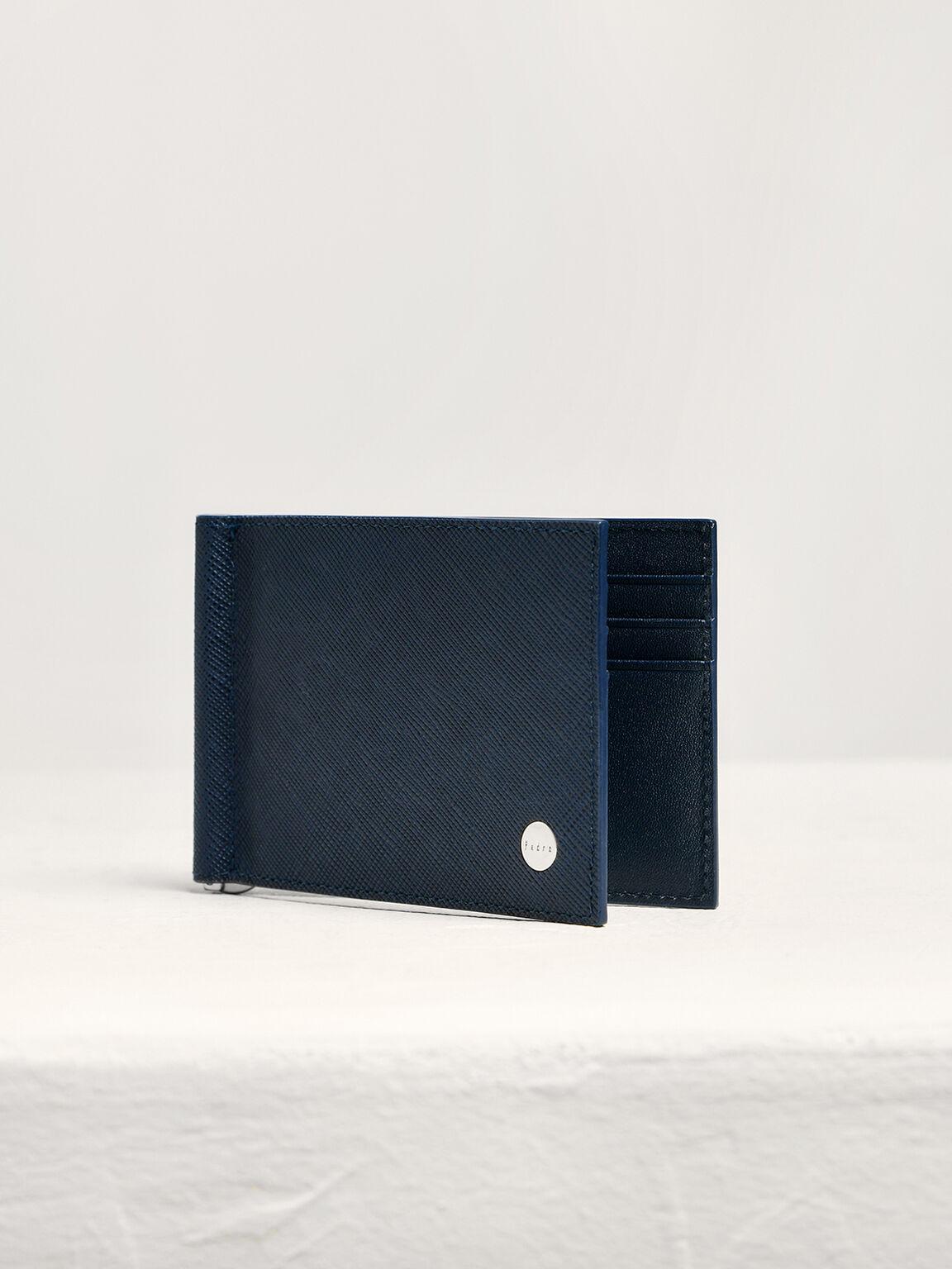 Leather Bi-Fold Money Clip Cardholder, Navy, hi-res
