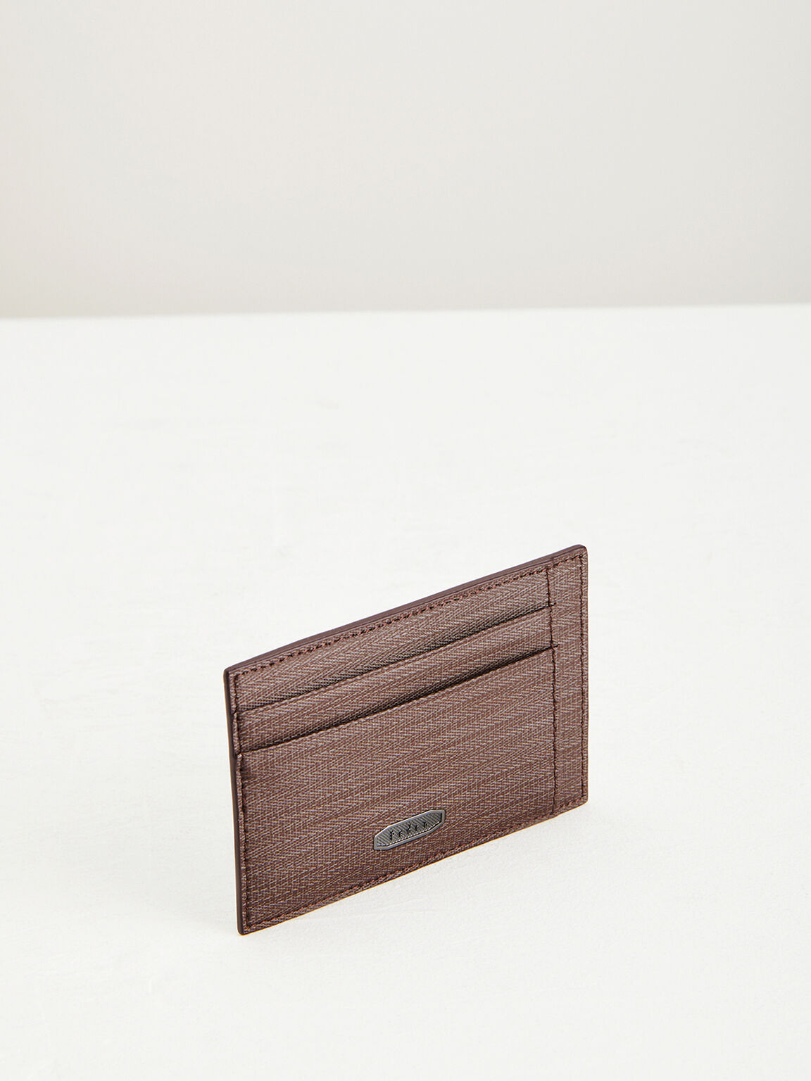 Leather Card Holder with Money Clip, Dark Brown, hi-res
