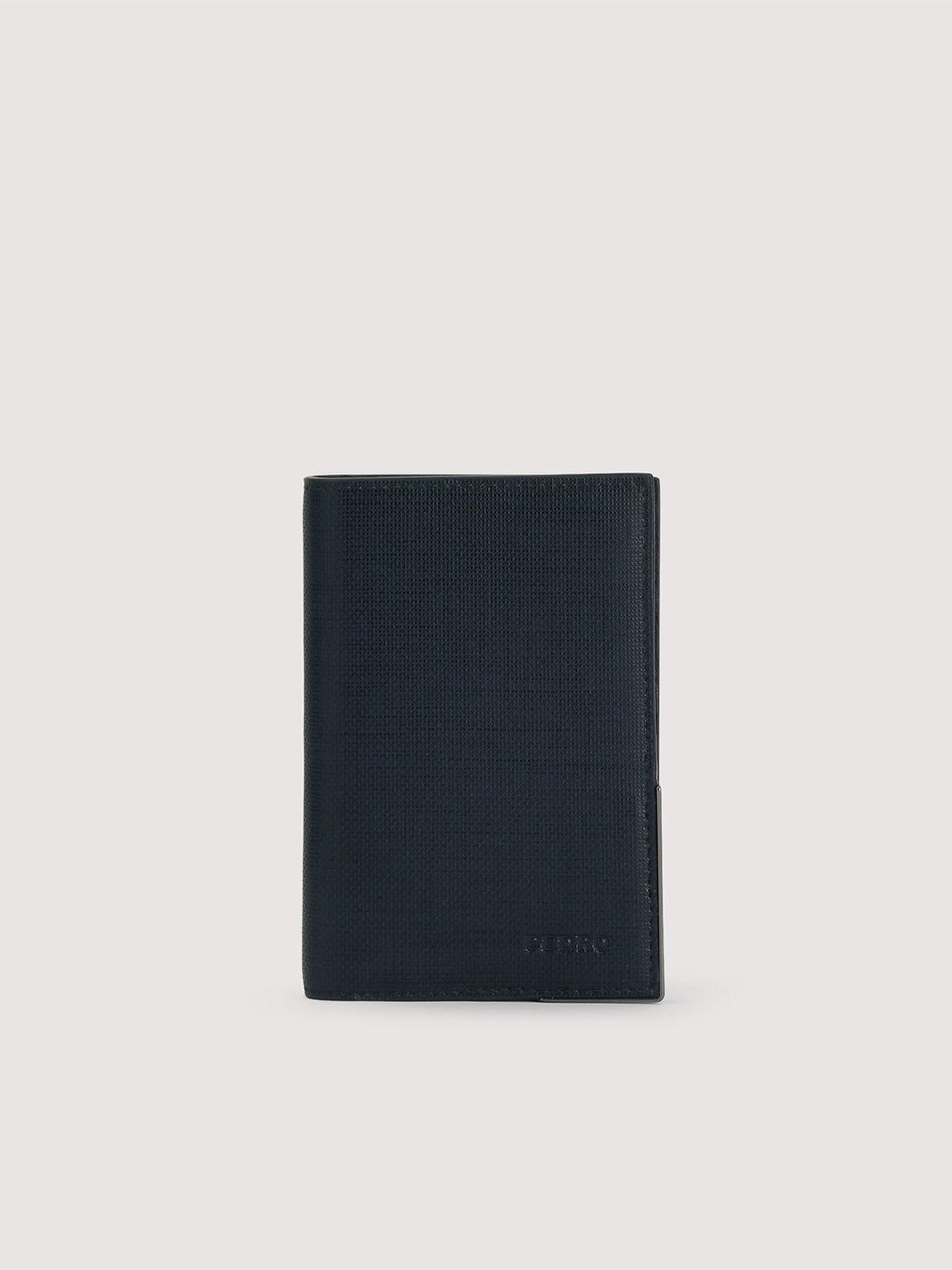 Leather Bi-Fold Cardholder, Navy, hi-res