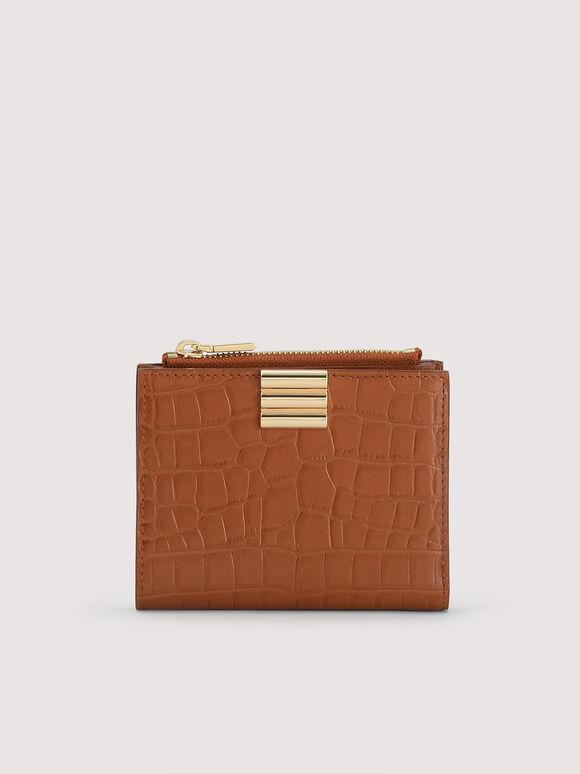 Embossed Leather Wallet, Cognac, hi-res