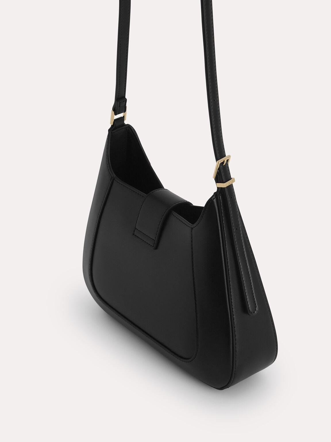 Top Handle Bag with Oval Buckle, Black, hi-res