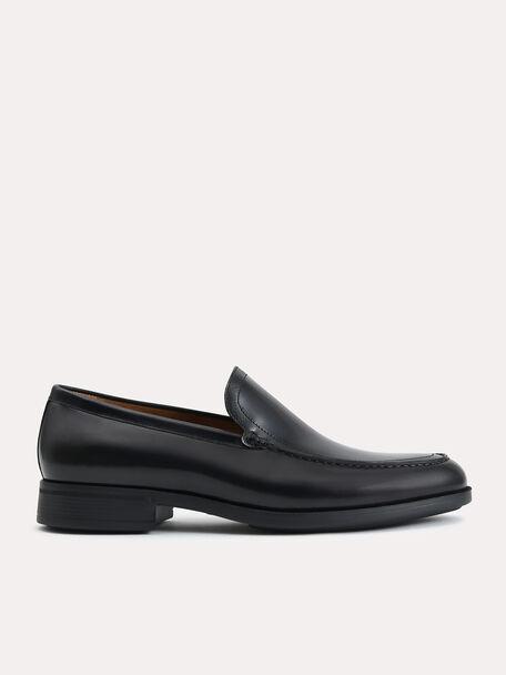 Lightweight Leather Loafers, Black, hi-res