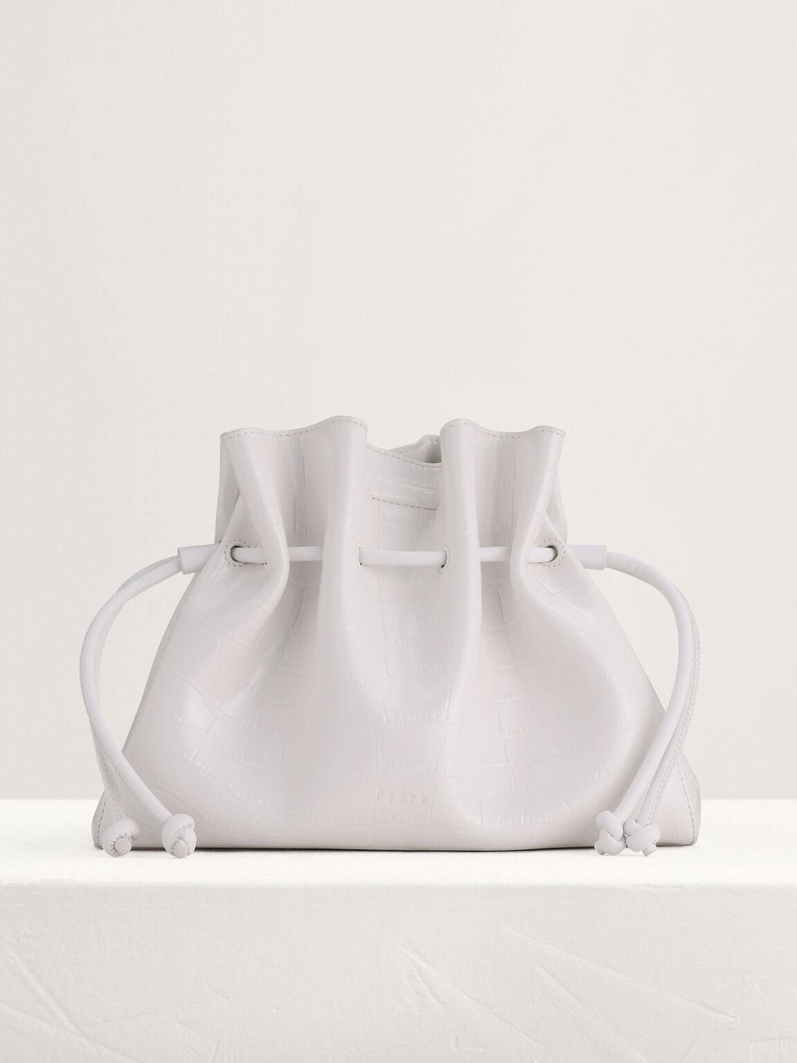 Drawstring Bucket Bag, White, hi-res