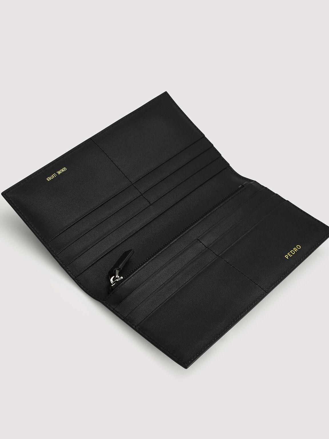 Long Leather Wallet, Black, hi-res