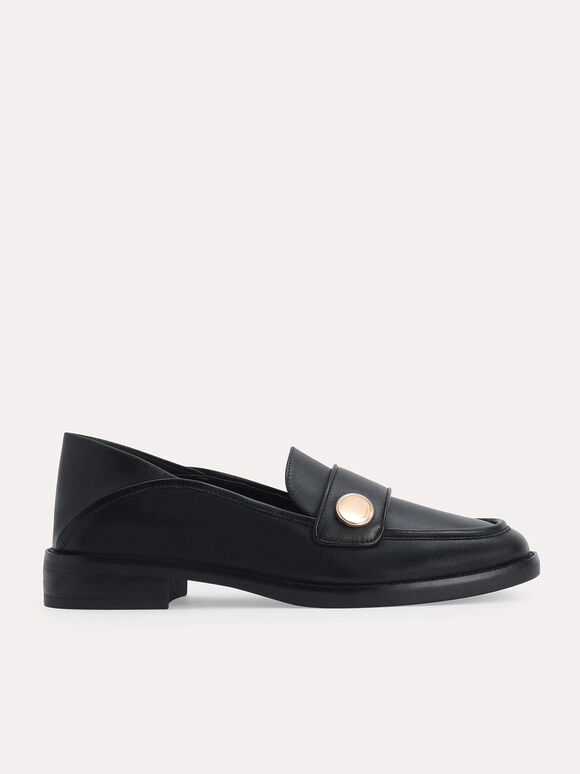 Leather Loafers, Black, hi-res