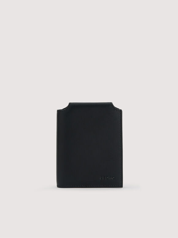Leather Bi-Fold Cardholder, Black, hi-res