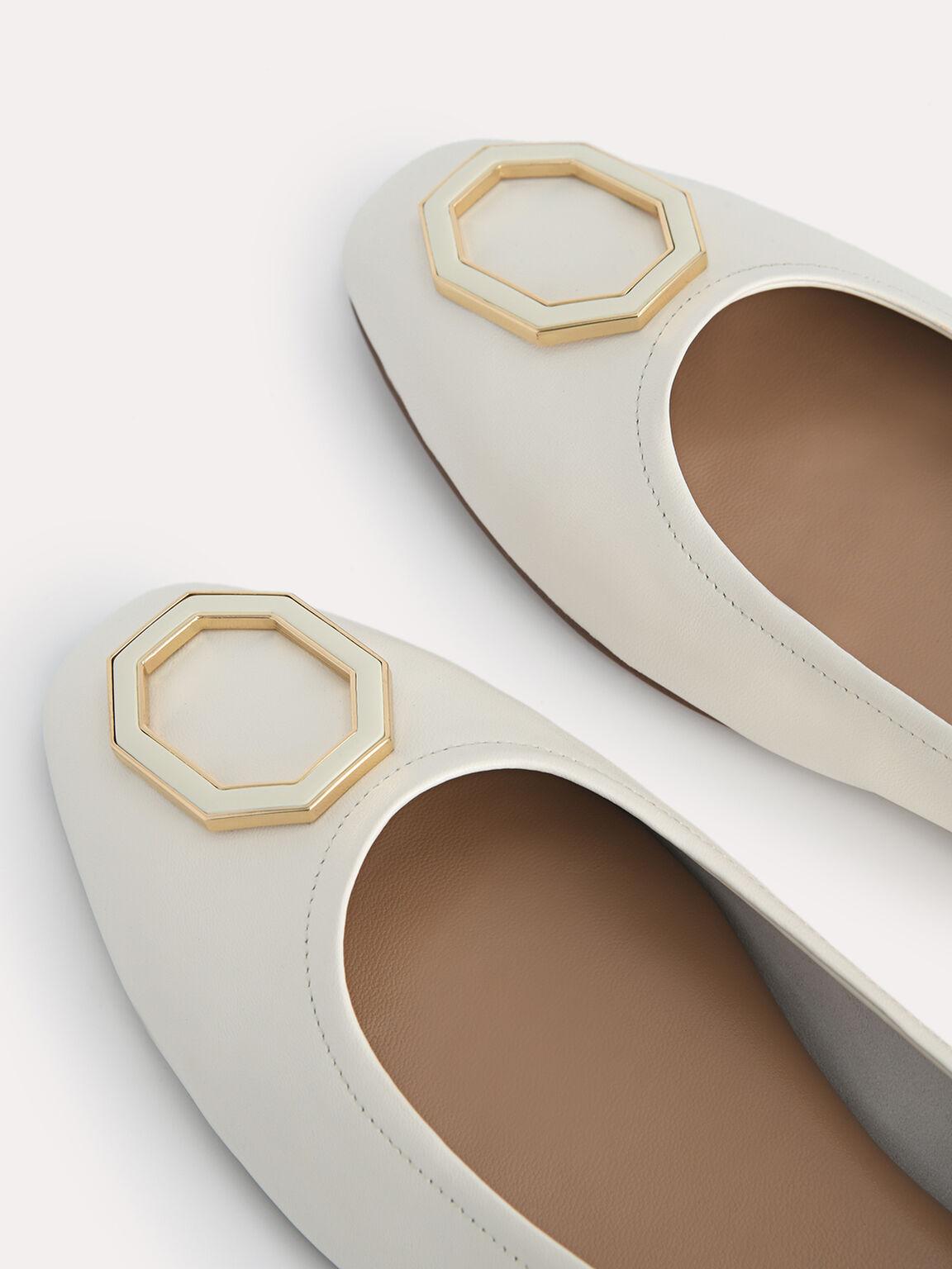Octagon Buckle Ballerina Leather Flats, Chalk, hi-res
