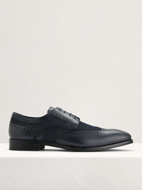 Leather Brogues, Navy, hi-res