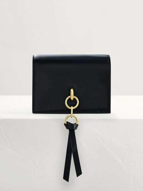 Two-Way Leather Wallet on Chain, Black, hi-res